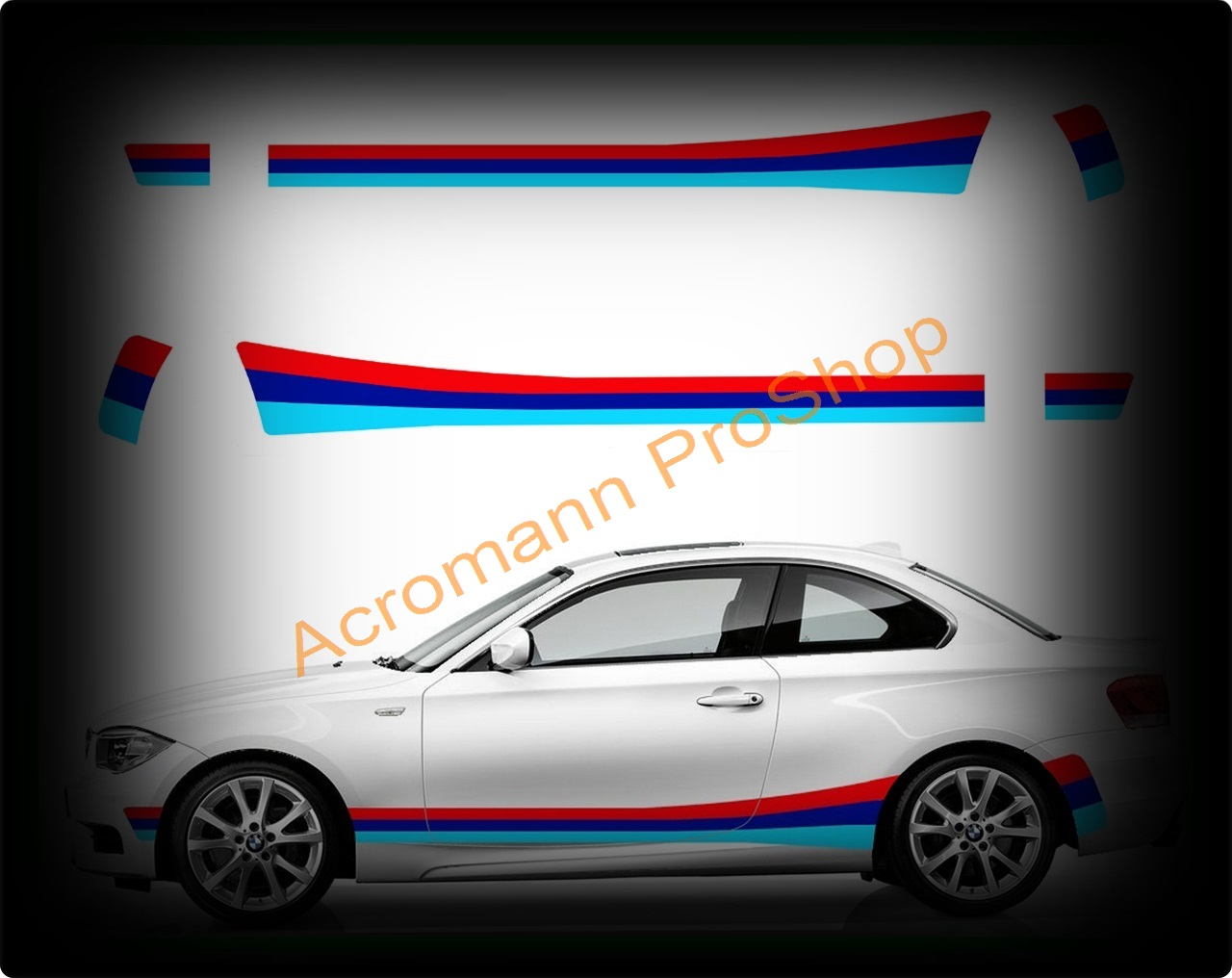 BMW M Color Side Stripe Decal (Style#1A) x 1 pair (LHS & RHS)